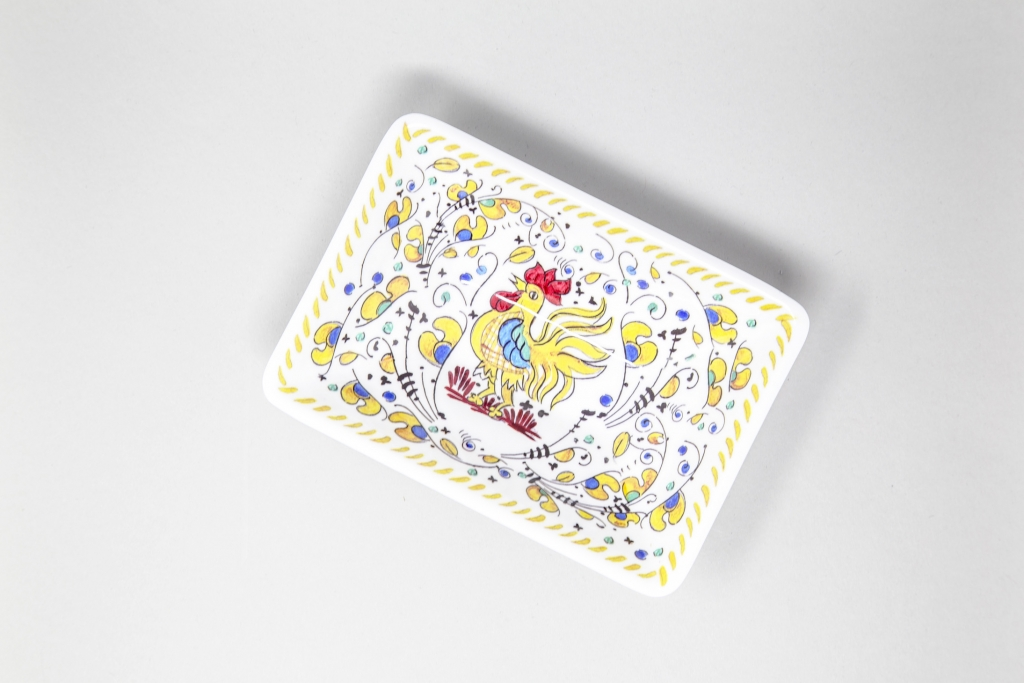 Le-Cadeax_Serving-Trey_White-Yellow-Rooster
